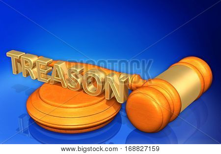 Treason Legal Gavel Concept 3D Illustration