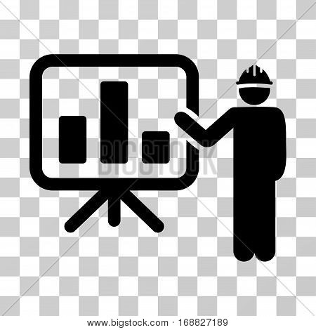 Engineer Pointing Chart Board icon. Vector illustration style is flat iconic symbol, black color, transparent background. Designed for web and software interfaces.