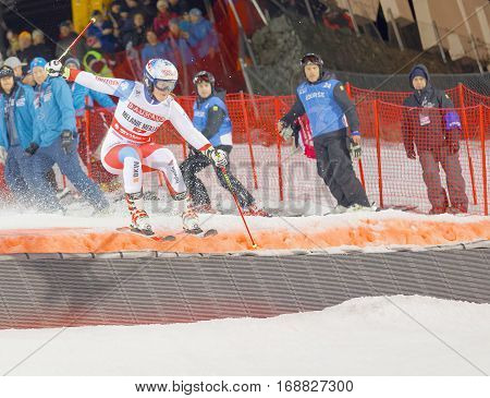 STOCKHOLM SWEDEN - JAN 31 2017: Melanie Meillard (SUI) jumping in the downhill skiing in the parallel slalom alpine event Audi FIS Ski World Cup. January 31 2017 Stockholm Sweden