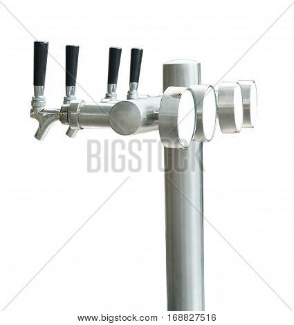 Draft Beer Towers or Draught Beer Tap Isolated on White Background.