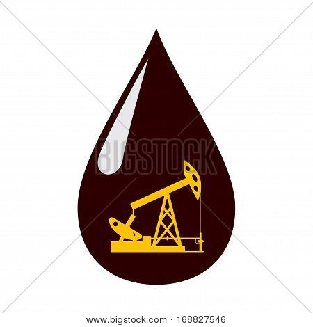 Silhouette of the oil pump in a drop of oil.