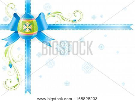 Happy Easter Spring vector border isolated on white background, color egg hunting party invitation. Holiday poster blue ribbon, bow. Flower corner. Abstract illustration template frame banner