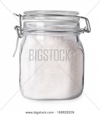 Granulated sugar in glass jar container isolated on white background with clipping path
