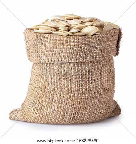 sack of seeds of pumpkin isolated on white background. Dry crude pumpkin seeds in burlap bag