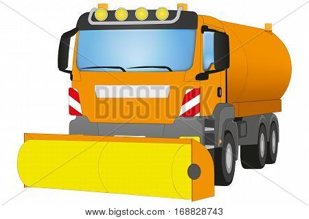 Street Sweeper with Yellow brush in Front