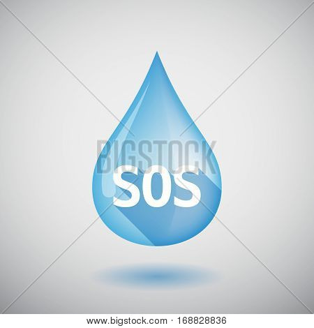 Long Shadow Water Drop With    The Text Sos