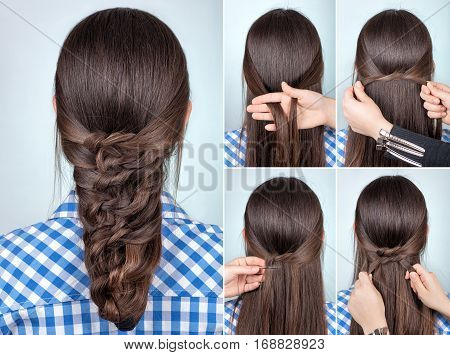 simple hairstyle twisted plait tutorial. Easy hairstyle for long hair. Hairstyle of twisted knots. Hairstyle with pins tutorial step by step