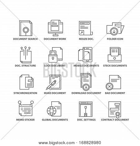 Thin line flat document isolated black icons