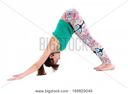 Yogi trainer practices asanas. Woman trains in strength and balance. Photo isolated on white background. Yoga is trend of healthy life.
