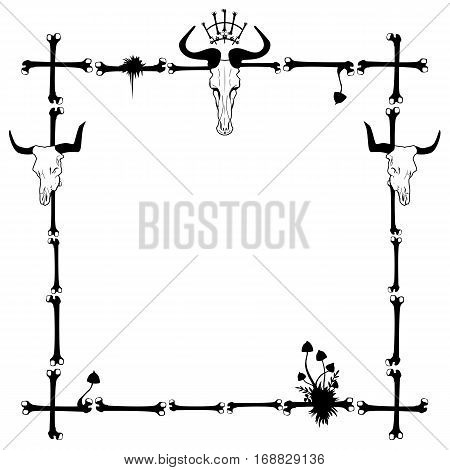 vector frame with mushrooms and skull in black and white