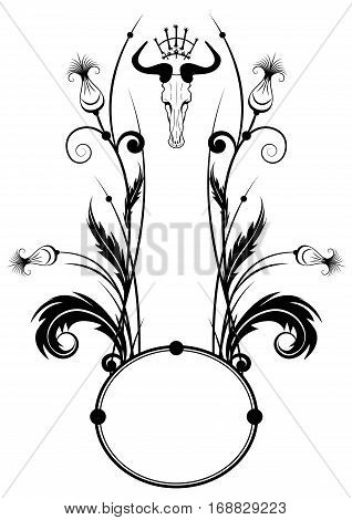vector frame with thistle and skull in black and white
