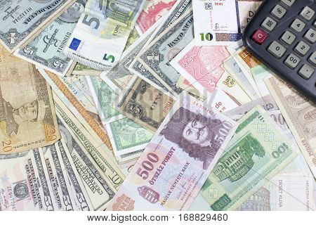 Money, currency, coins and bills of various countries