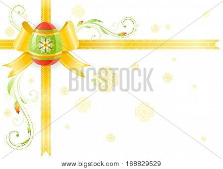 Happy Easter Spring vector border isolated on white background, color egg hunting party invitation. Holiday poster, floral yellow green ribbon, bow. Flower corner. Illustration template frame banner