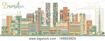 Abstract Brasilia Skyline with Color Buildings. Business Travel and Tourism Concept with Modern Architecture. Image for Presentation Banner Placard and Web Site.