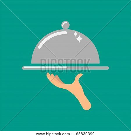 Service concept vector icon illustration. Waiter hand holding silver cloche food tray.