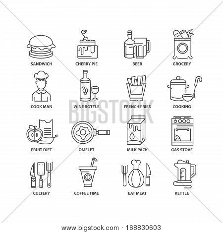 Thin line flat food isolated black icons