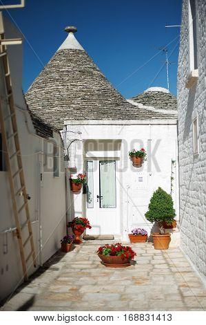 Typical trulli house in Alberobello, Apulia, Italy