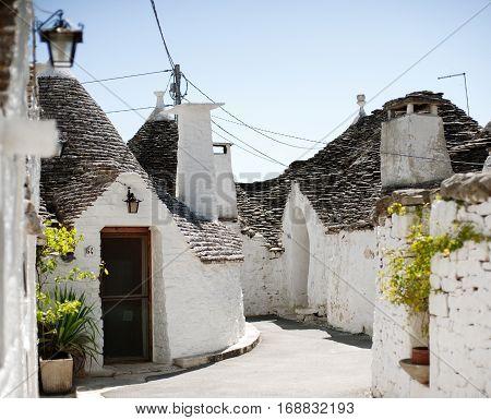 Typical trulli houses in Alberobello, Apulia, Italy