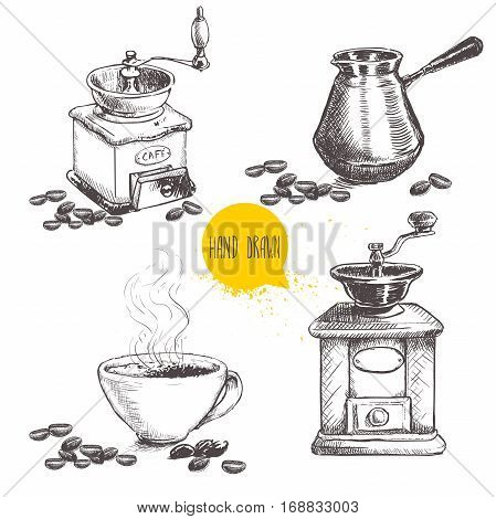 Hand drawn coffee set with coffee beans. Sketch style. Isolated on white background. Coffee mill turkish coffee pot cezve and cup of coffee.