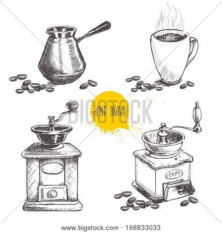 Hand drawn coffee set with coffee beans. Sketch style. Isolated on white background. Coffee mill turkish coffee pot cezve and mug of coffee.