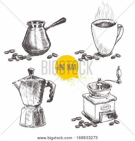 Hand drawn coffee set with coffee beans. Sketch style. Isolated on white background. Coffee mill turkish coffee pot cezve vintage italian geyser coffee maker and mug of coffee.