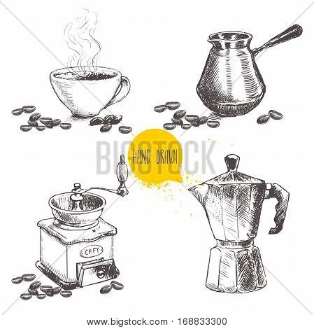 Hand drawn coffee set with coffee beans. Sketch style. Isolated on white background. Coffee mill turkish coffee pot cezve vintage italian geyser coffee maker and cup of coffee.