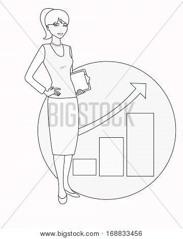 Political strategist is on background of growing graphic. Specialist in public relations, coordinator, PR Manager, businesswoman, etc. Isolated on white. Linear, flat vector. White-black variation.
