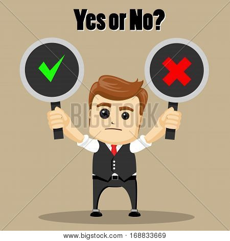 Vector businessman or manager holding right and wrong signs. Manager character with choice Yes or No.