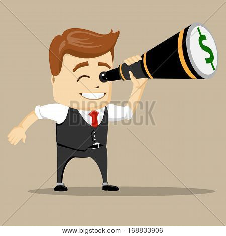 Vector businessman with binoculars. Manager character or business man using binoculars.