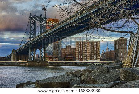 Manhattan Bridge with Beautiful Clouds in January