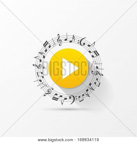Creative play button with notes. Background. Vector illustration