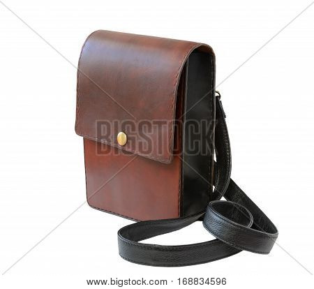 Brown leather luxury bag isolated on white. Men s handmade accessories.