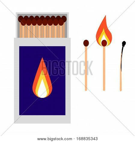 Open matchbox with burned matches vector illustration.