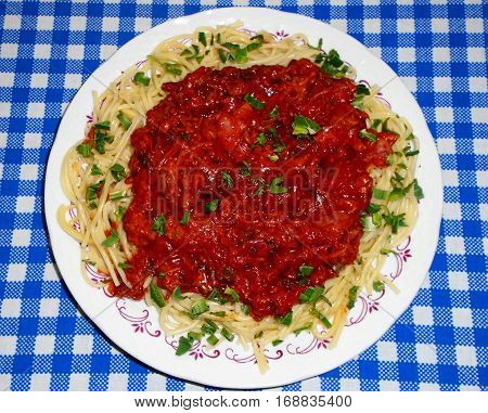 Spaghetti with meat, ketchup and pieces of lovage levisticum on blue-white tablecloth