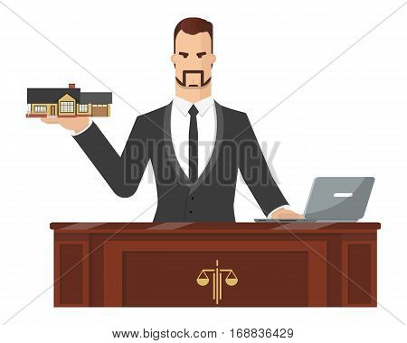 The lawyer is trying to help a client to sue house. Vector illustration