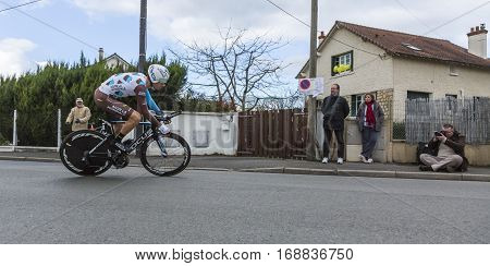 Conflans-Sainte-HonorineFrance-March 62016: The French cyclist Mikael Cherel of AG2R La Mondiale Team riding during the prologue stage of Paris-Nice 2016.