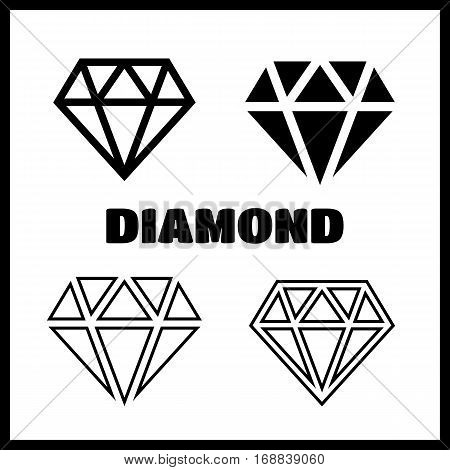 Diamond icons set. Diamond vector sign set