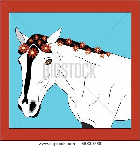 White horse with the flowers braided in a mane