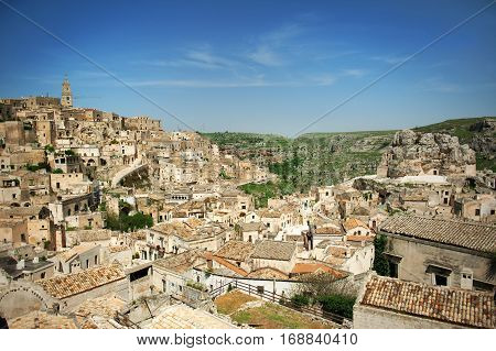 Matera European capital of culture 2019 panoramic view Basilicata Italy