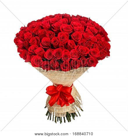Flower bouquet of 100 red roses isolated on white background.