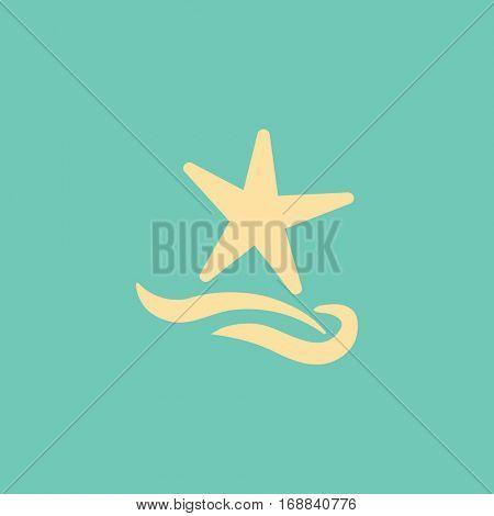 Flat icon. Starfish and sea. Waves. Recreation .