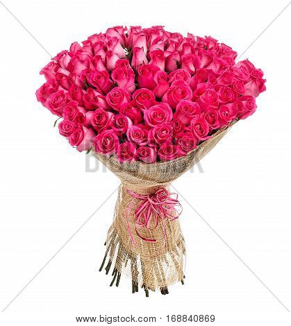 Flower bouquet of 100 pink roses isolated on white background.