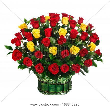 Flower bouquet of red and yellow roses isolated on white background.