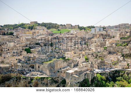 Matera ancient town panoramic view Basilicata Italy