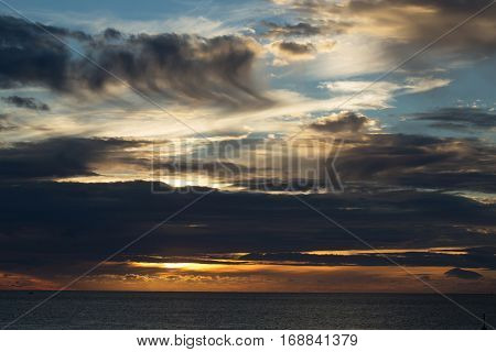Dramatic Evening Sky With Dark Clouds Over Sea