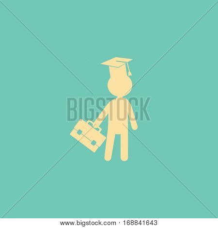 Flat icon. The man in the square academic cap with a briefcase.