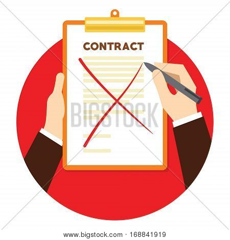 Contract terminated with paper crossed vector illustration
