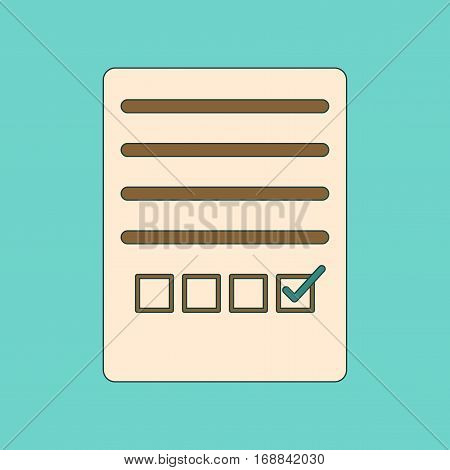 flat icon with thin lines checklist questionnaire