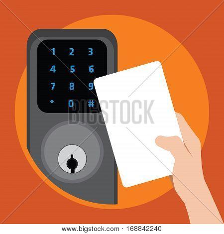 door with security key card vector illustration design