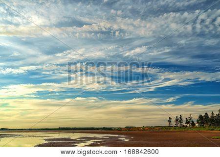 Evening at a beach in rural Prince Edward Island, Canada.